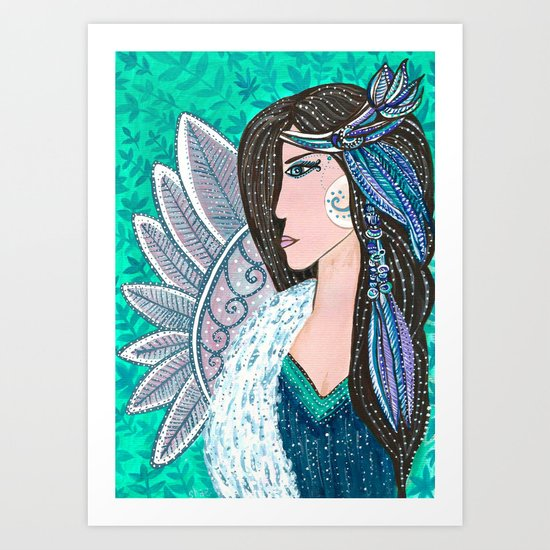 She Wore Feathers In Her Hair Art Print