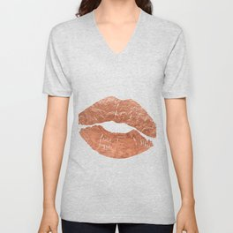 Rose gold kiss on the lips Unisex V-Neck