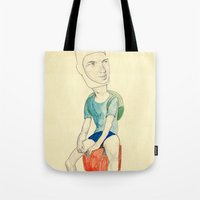 finn Tote Bags featuring Finn by withapencilinhand