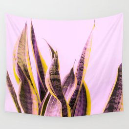 Long Leaves Plant On Pink Background #decor #society6 #buyart Wall Tapestry