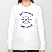 quidditch Long Sleeve T-shirts featuring Ravenclaw Quidditch Team Seeker: Blue by Sharayah Mitchell