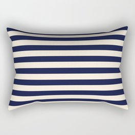 Navy Ivory Bold Stripes Rectangular Pillow