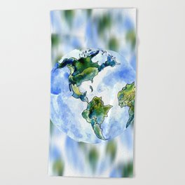 Hand Drawn Earth Beach Towel