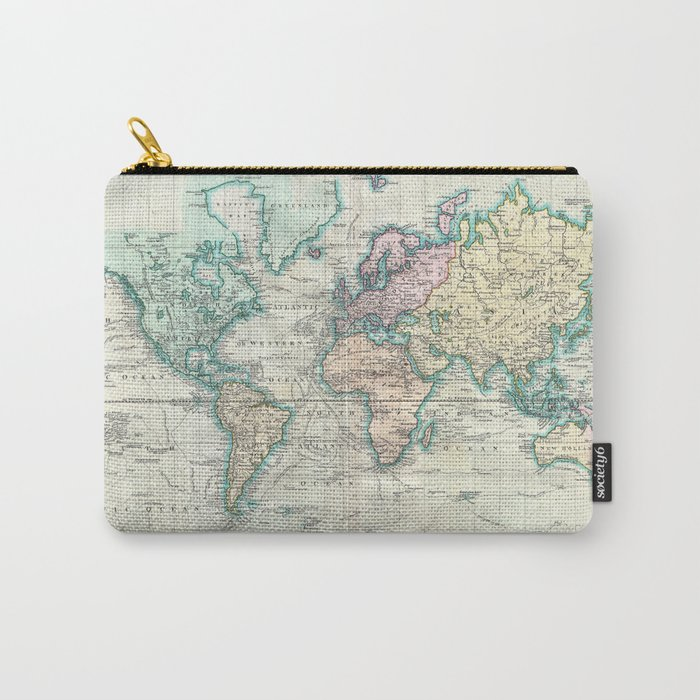 Vintage Map of The World (1801) Carry-All Pouch