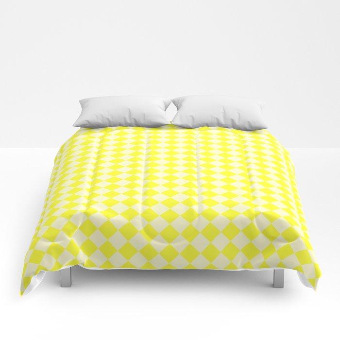 Cream Yellow and Electric Yellow Diamonds Comforters