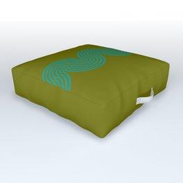 groovy minimalist pattern aqua waves on olive Outdoor Floor Cushion