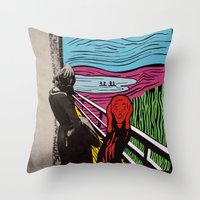 scream Throw Pillows featuring Scream by Canson City