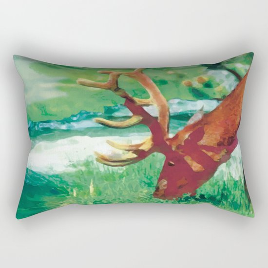 Deer on the edge of the forest Rectangular Pillow