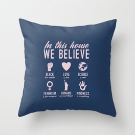 In This House We Believe, Navy & Pink Throw Pillow