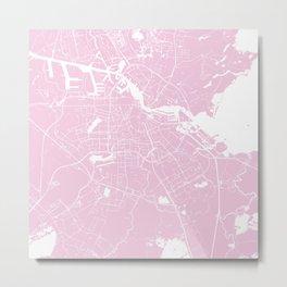 Amsterdam Pink on White Street Map Metal Print