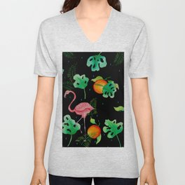 Flamingo Tropical Scene // Black Green Pink Orange Palette Unisex V-Neck