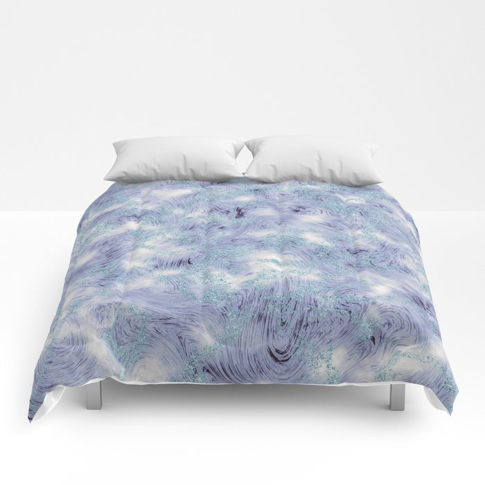 Blue and Purple Marble Swirl Texture Comforters