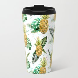 Summer tropical green yellow pineapple leaves watercolor floral Travel Mug