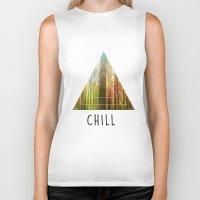 chill Biker Tanks featuring Chill  by Corentin Mas