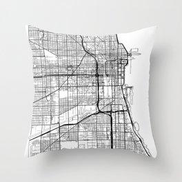 Chicago Map White Throw Pillow