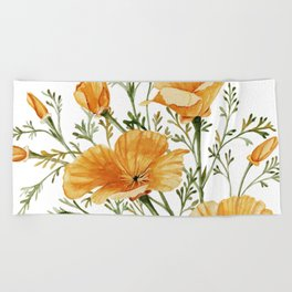 California Poppies - Watercolor Painting Beach Towel