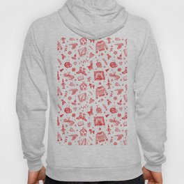 Cozy Hygge Elements in Red + White Hoody