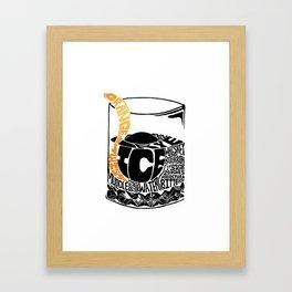 Old Fashioned Cocktail Recipe Letterpress/Linoleum cut design by BirdsFlyOver Framed Art Print