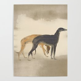 Two Greyhounds Poster