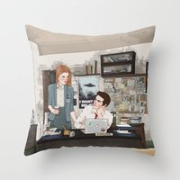 stiles stilinski Throw Pillows featuring Teen Wolf X-Files AU (Stiles Stilinski & Lydia Martin) by vulcains