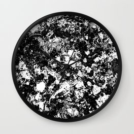 Bad Memories - black and white abstract painting Wall Clock