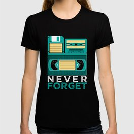 Never Forget | Retro VHS Cassette Tape Floppy Disk T-shirt
