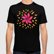 Whimsical Watercolor Floral Pattern In Pink And Purple MEDIUM Black Mens Fitted Tee