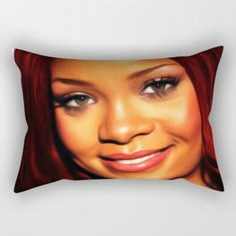 Rihanna - Celebrity Art (Dark Painting) Rectangular Pillow