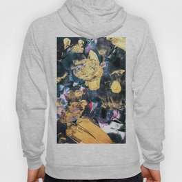 Abstract Modern Black Pink Faux Gold Acrylic Brushstrokes Hoody