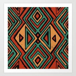 Red earth geometric pattern Art Print