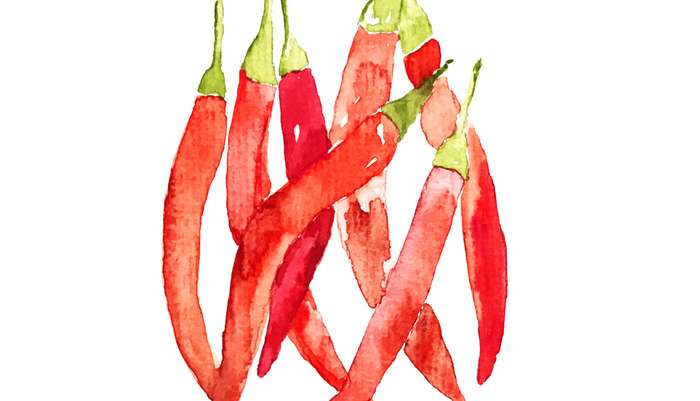 Watercolor Chilies Pillow Sham