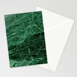 Dark emerald marble texture Stationery Cards