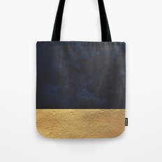 Color Blocked Gold & Cobalt Tote Bag
