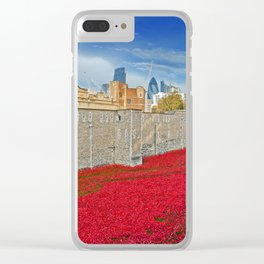 Tower of London Poppies Clear iPhone Case