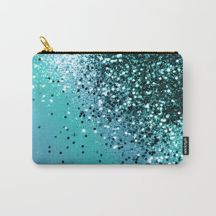 Aqua Blue OCEAN Glitter #1 #shiny #decor #art #society6 Carry-All Pouch