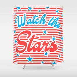 Watch the Stars (red version) Shower Curtain