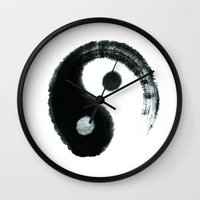 ying yang Wall Clocks featuring Ying & Yang by Simple Touch Apparel