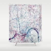 cincinnati Shower Curtains featuring Cincinnati map by MapMapMaps.Watercolors