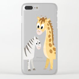 Safari Baby Zebra and Giraffe Clear iPhone Case