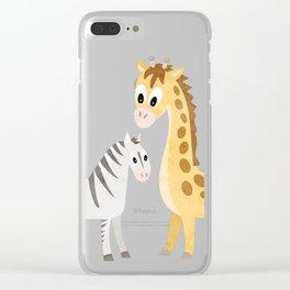 Safari Baby Zebra and Giraffe Clear iPhone Case