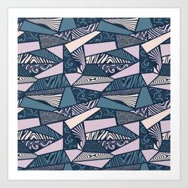 Shapes and swirls pattern Midnight Blue Combo Art Print