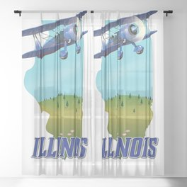 Illinois map travel poster. Sheer Curtain