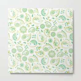 Hedgehog Paisley_Green and White Metal Print