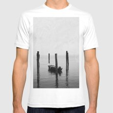 Boat on the lake MEDIUM White Mens Fitted Tee