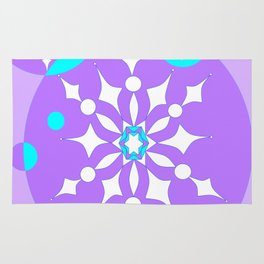 A Lavender and Aqua Snowflake Design Rug