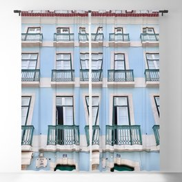 Pastel Blue Apartments in Portugal Blackout Curtain
