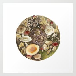 Mushroom circle with a Triskel Art Print