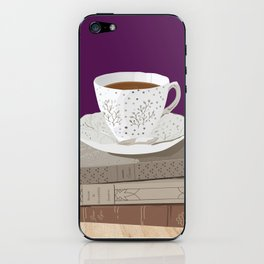 Teacup, Jane Austen, & Charlotte Brontë Books iPhone Skin