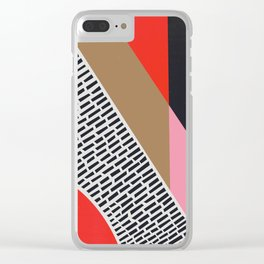 Pink Gold Red Abstract Clear iPhone Case