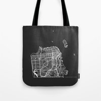 san francisco map Tote Bags featuring SAN FRANCISCO by Nicksman